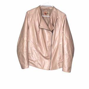 Ruff Hewn Faux Leather Bomber Moto Jacket 1X